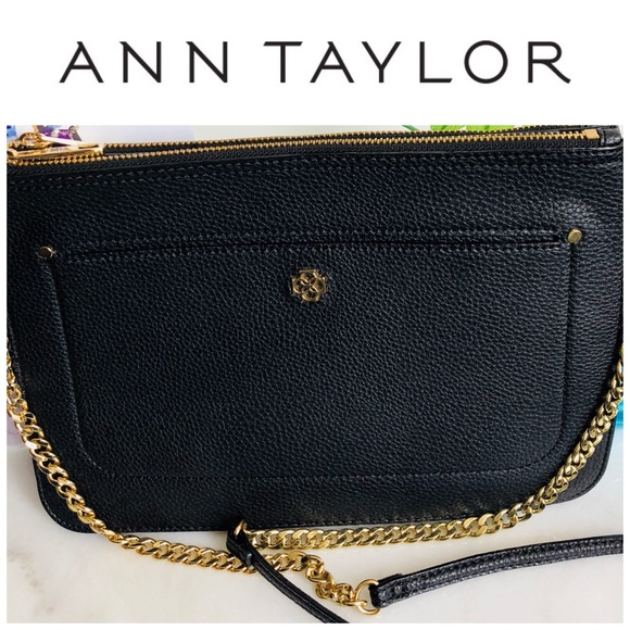 Ann Taylor Handbags - Ann Taylor Black Leather Clutch